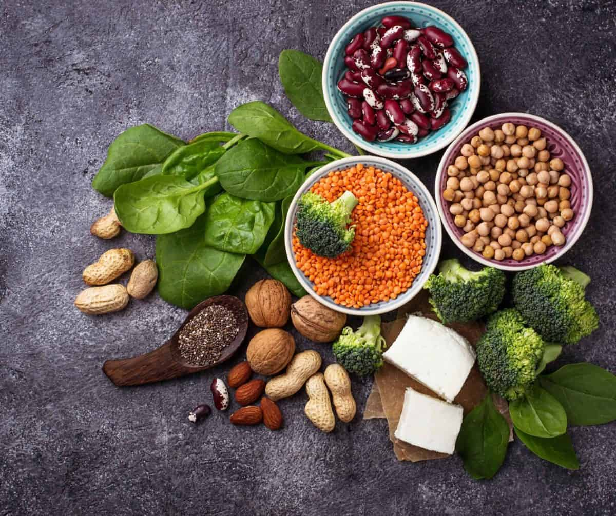 A photo of foods containing protein