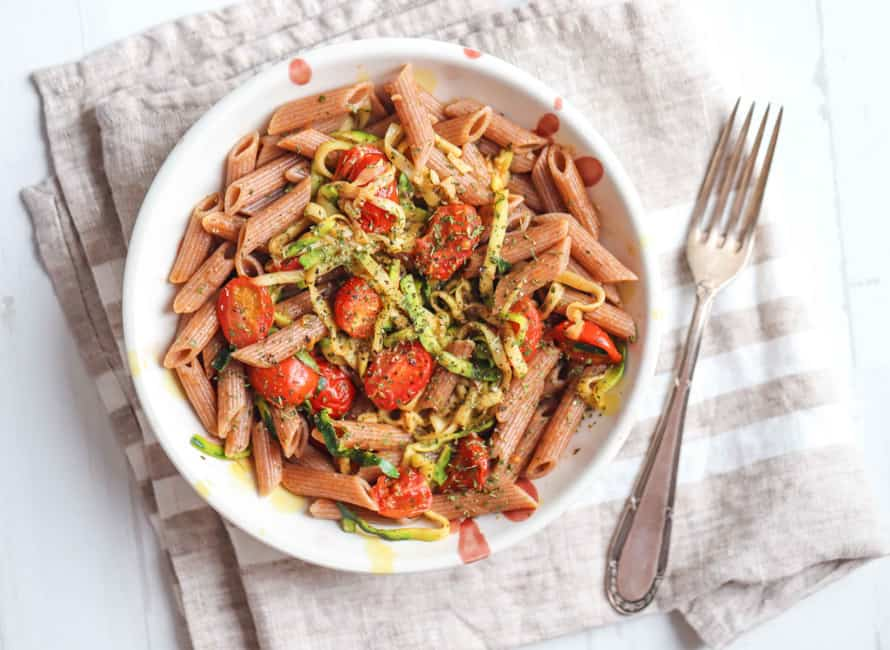 Photo of a bowl of Garlic Courgette and Tomato Pasta